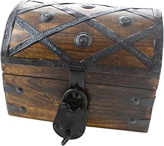 Well Pack box Treasure Chest Pirate Box 8x6x6 With Lock Skeleton Key By Well Pack Box (Small Deluxe)