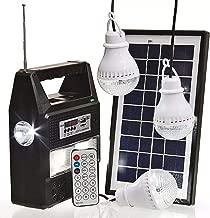 Kit Painel Placa Solar E Bateria 3 Bulbo Led + Radio Usb Mp3