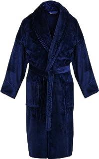 a2f7bfadd0 BC BARE COTTON 100% Turkish Cotton Men Terry Velour Shawl Robe One Size  Royal Blue