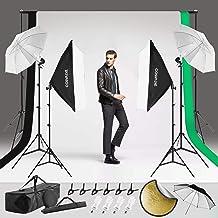 COSVALVE Photography Lighting Kit,800W 5500K Light Umbrella Continuous Softbox Professional Set with Adjustable 2X3M Backg...
