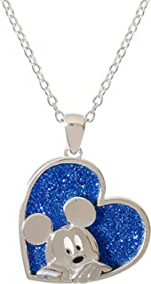Mickey Mouse & Friends Jewelry for Women and Girls, Silver Plated Mickey or Minnie Mouse Glitter Pendant Necklace, 18