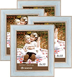 BOICHEN 8x10 Picture Frames Photo Display for Tabletop Display Wall Mount Rustic Style Wood Pattern High Definition Glass Blue Gray Photo Frame 4 Pack
