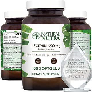 Natural Nutra Soy Lecithin Dietary Supplement from Soybean Oil, Improve Brain Function, Helps to Reduce Anxiety Levels, Pr...