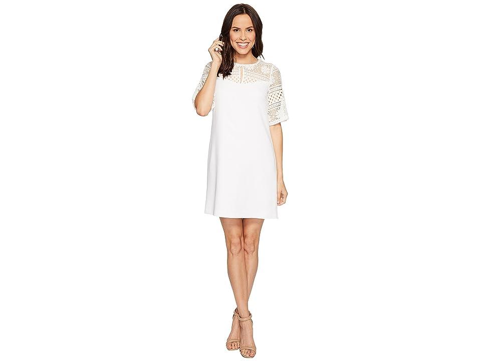 Adrianna Papell Cameron Textured Woven Shift Dress (Ivory) Women