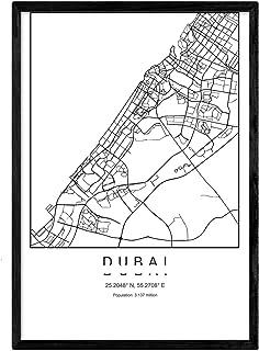 Nacnic Lama Dubai Mappa della Città in Stile Nordico in Bia