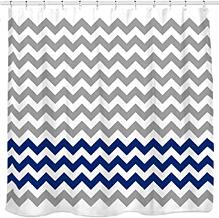 Sunlit Zigzag Navy Blue and Grey White Chevron Fabric Shower Curtain, Geometric Zig Zag Print Pattern Lines and Contemporary Stripes Modern Design Ocean Nautical Theme Fabric Bathroom Décor