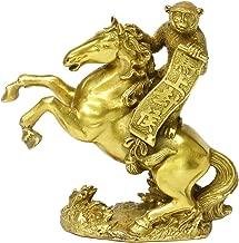 Chinese Feng Shui Handmade Brass Horse Monkey Set Statue Golden Wealth Monkey Riding Horse Figurine Home Decor Congratulatory Gift