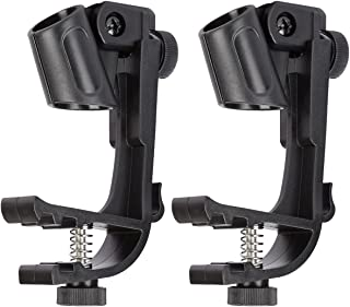 Blueseason Adjustable Drum Microphone Clips Rim Snare Mount Clamp Holder Gear Studio 2Pcs