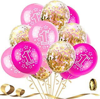 1st Happy Birthday Confetti Balloons,First Birthday Decorations 12 Inch Large Pink Red Latex Helium Balloons Perfect for Baby Girl Party Supplies(Pack of 15)