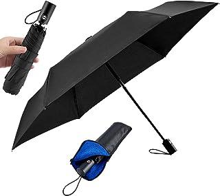 【2020年新版 超軽量220g】折りたたみ傘 メンズ 軽量 自動開閉 頑丈な コンパクト Teflon超撥水 耐強風 おりたたみ傘 ワンタッチ 折り畳み傘 晴雨兼用 210T高強度 速乾 収納ポーチ付 (ブラック)