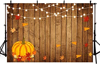 MEHOFOTO Autumn Rustic Wood Photography Backdrops Props Shining Lights Pumpkin Maple Leaves Birthday Party Baby Shower Decoration Photo Studio Booth Background Banner 7x5ft