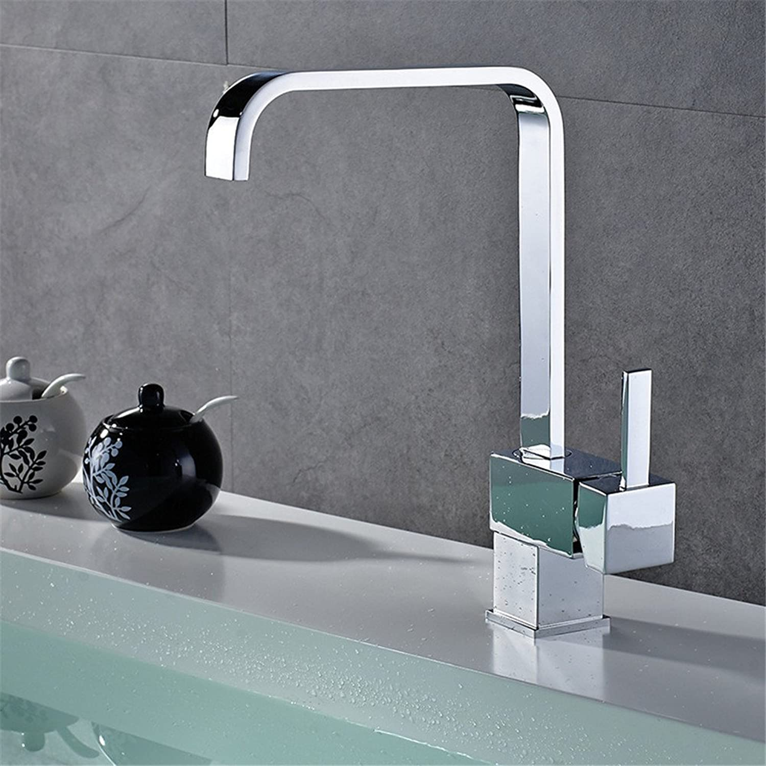FHLYCF European modern Copper Kitchen Faucet vegetable washing basin faucet square cold and hot water 360 degrees redation sink faucet