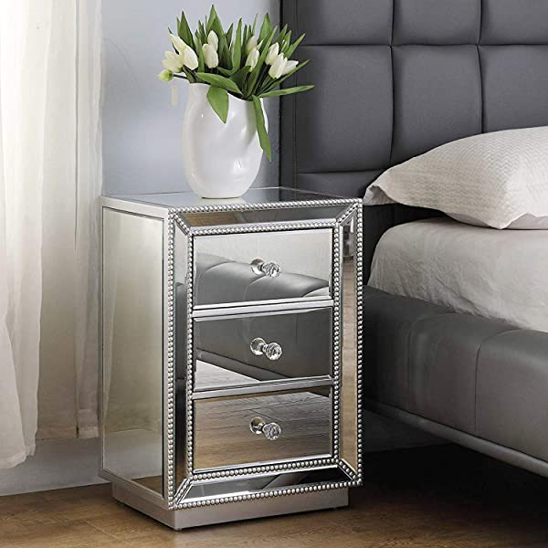 Modern 3 Drawer Mirrored End Table GA Home Nightstand Mirror Accent Table Bedroom Mini Cabinet Silver