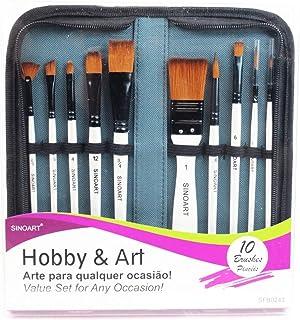 Sinoart Kit de Pincéis Hobby & Art 10 Peças, Sintético