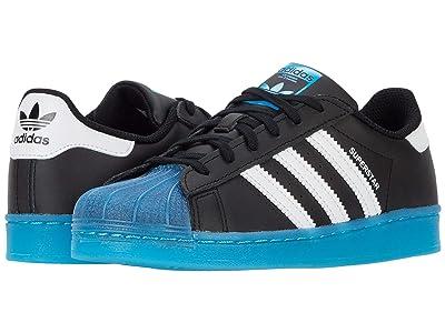 adidas Originals Kids Superstar (Little Kid) (Core Black/Footwear White/Signal Cyan) Kids Shoes