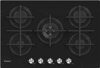 Candy CVG74WPB Plaque de cuisson à gaz en verre, 5 feux, 480 x 560 x 42 mm, noir