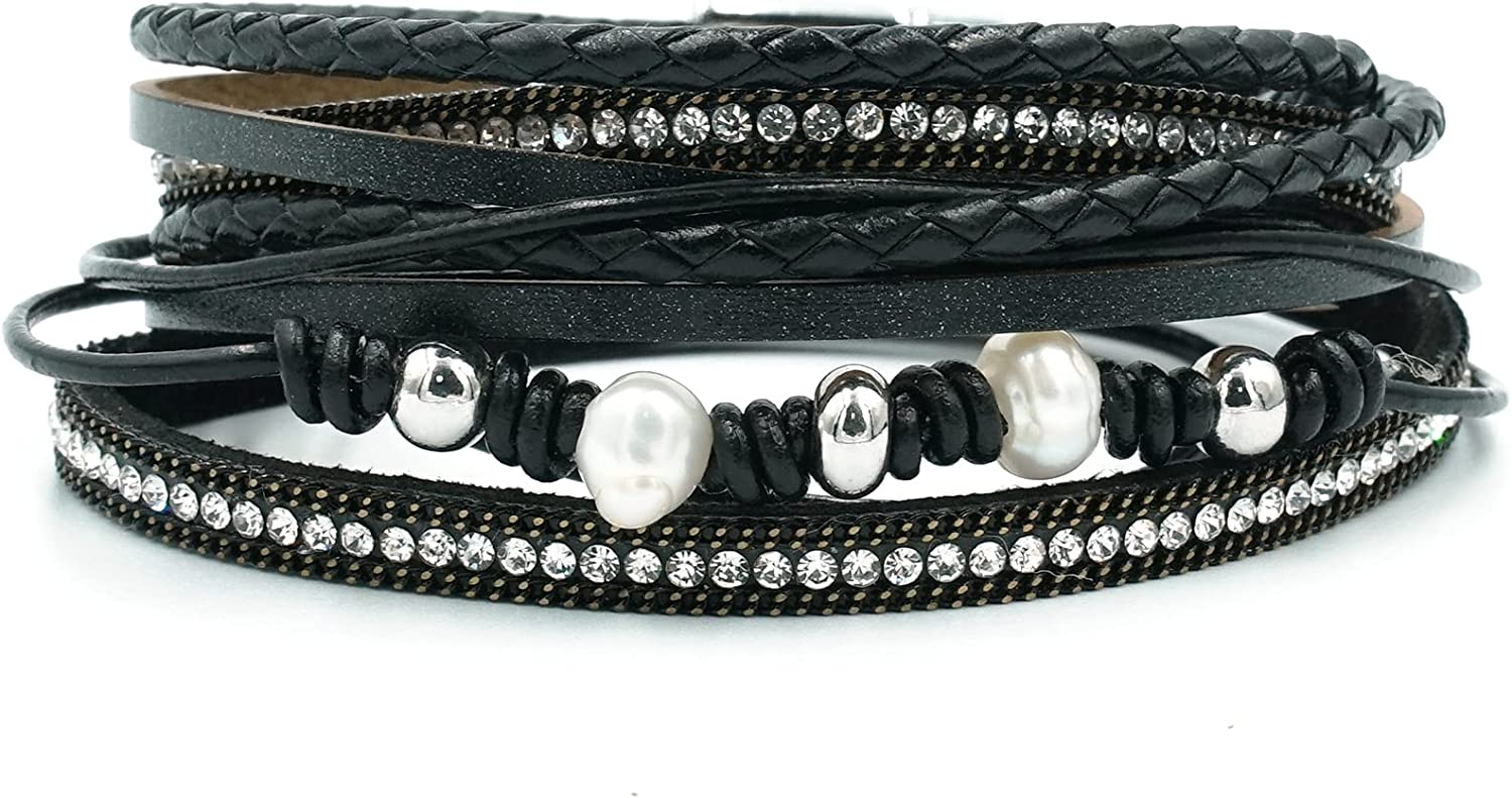 Womens Leather Entangle Wrap Bracelets with Pearls,Accessories Multilayer Leather Cuff Bohemian Charm Leather Bracelets for Women Girls Gift