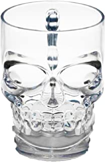 Circleware 07099 Face Beer Glass Handle, Heavy Base Funny Entertainment Glassware Drinking Cup for Water, Wine, Juice and Bar Liquor Dining Decor Beverage Novelty Gifts, 18 oz, Skull Mug 18oz