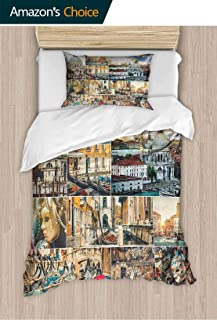 PRUNUSHOME Hotel Luxury Bed Sheet Set-Sale Collage of Various of Venice City with Canal Cathedral and Palace King