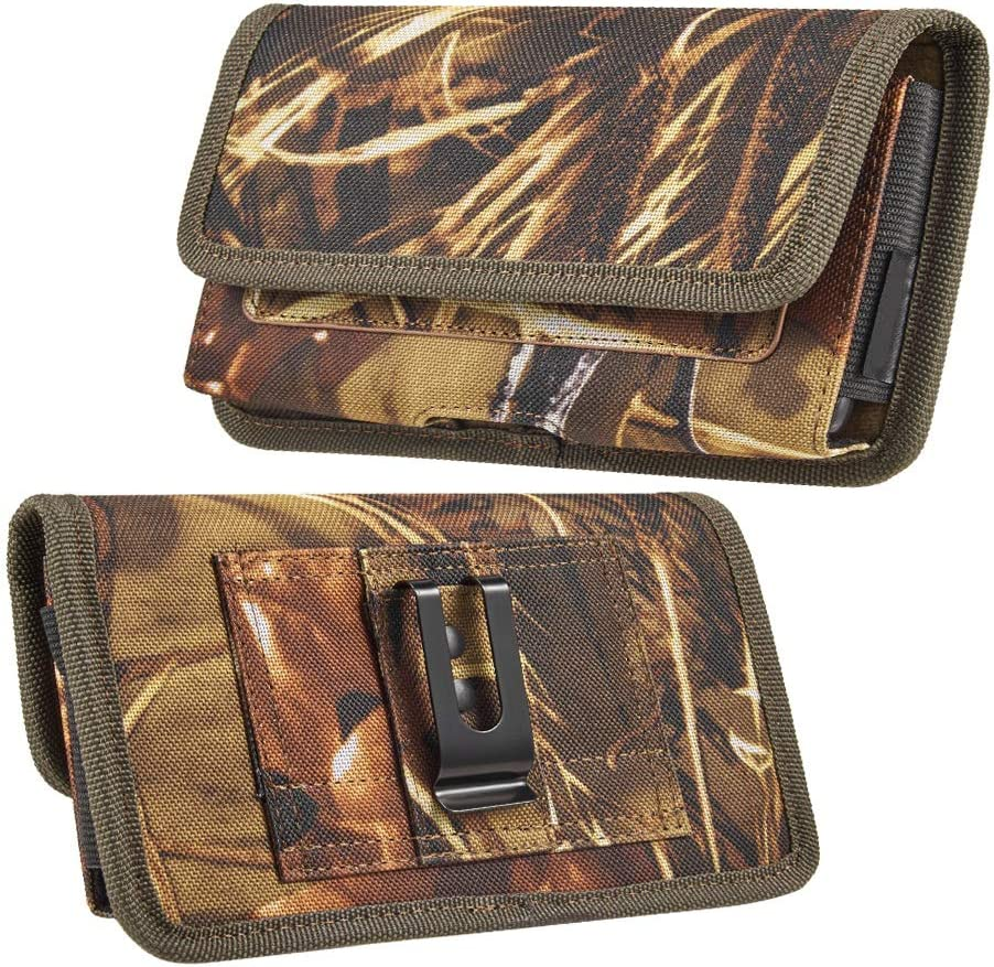 6.5-inch Horizontal Hunter Camo Universal Cell Phone Holster Pouch with Belt Clip and Card Slots
