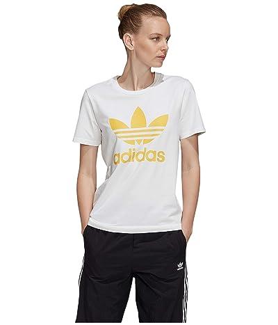 adidas Originals Trefoil Tee (White/Core Yellow) Women