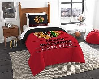 B62830000 570B6783000001 EN 2 Piece Hockey League Blackhawks Comforter Twin Set, Sports Patterned Bedding, Team Logo Fan M...