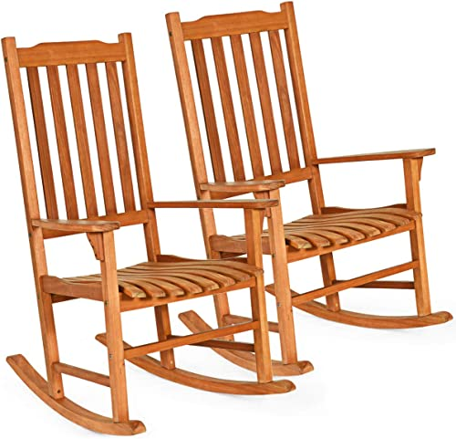 wholesale Giantex Set of 2 wholesale Porch Rocking Chair, Solid Wood outlet online sale Rocker for Outdoor Indoor Use. Natural Finish, Single Chairs for Patio Deck Garden online sale