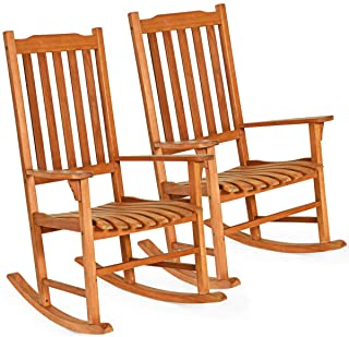 Giantex Set of 2 Porch Rocking Chair, Solid Wood Rocker for Outdoor Indoor Use. Natural Finish, Single Chairs for Patio De...