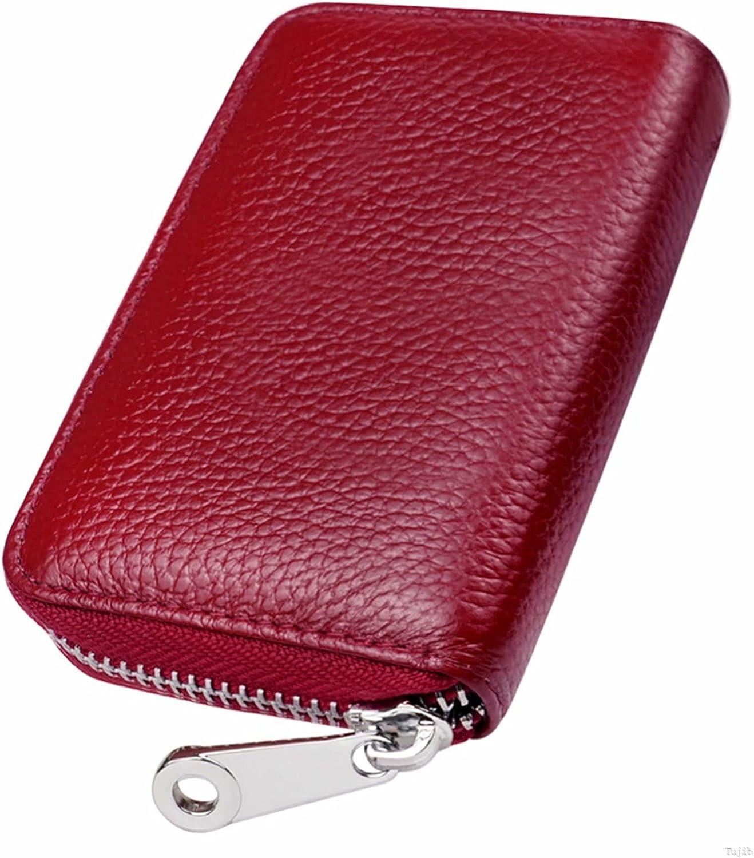 GADIEMKENSD Card Holder Wallet RFID Blocking Genuine Leather Purse With Zipper