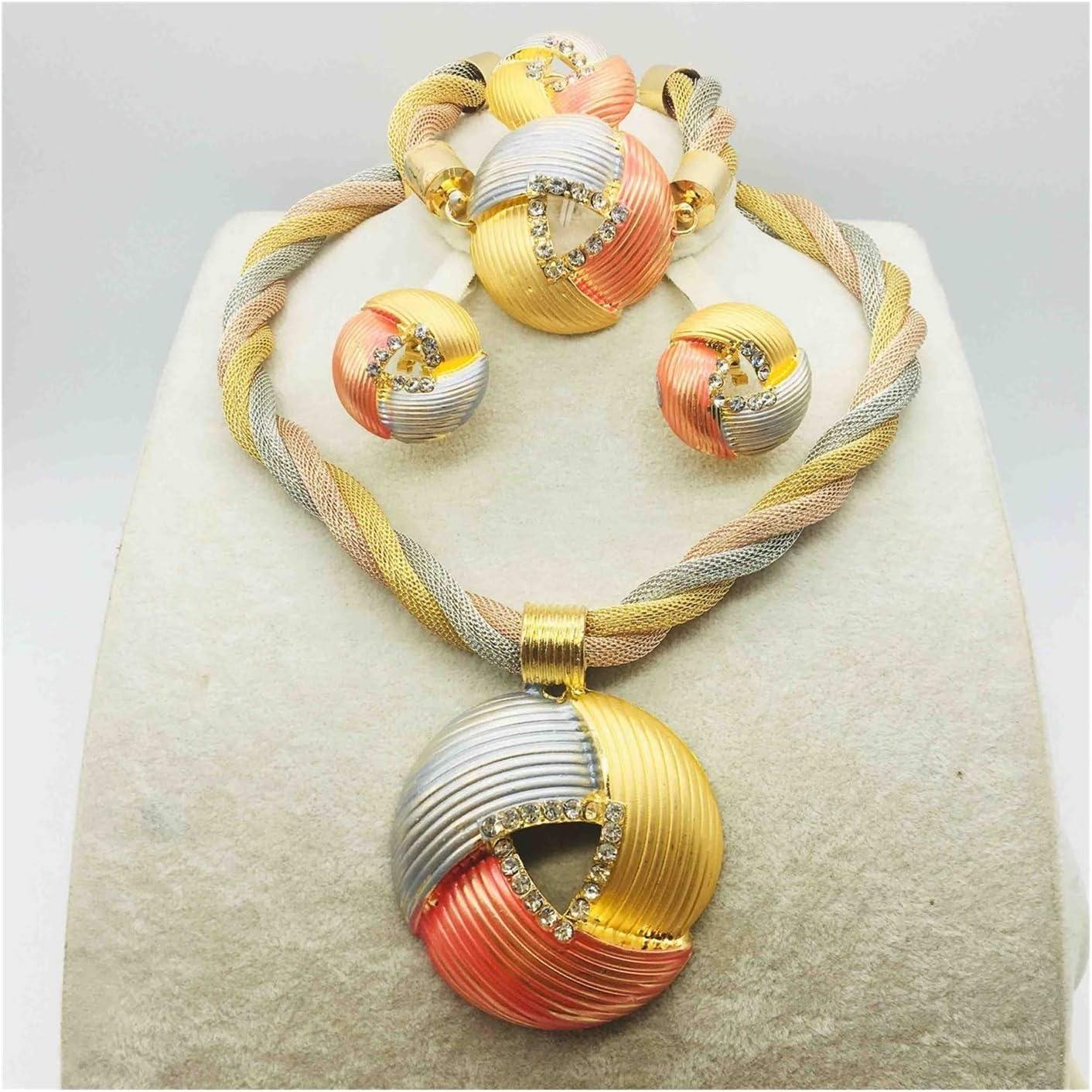 DSJTCH Bridal Gift Nigerian Wedding African Beads Jewelry Set Woman Fashion Dubai Gold Color Jewelry Set Design (Metal Color : Rose Gold Color)