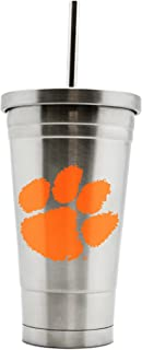 NCAA Clemson Tigers 17oz Double Wall Stainless Steel Thermo Tumbler with Straw
