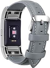 Fullmosa Compatibel met Fitbit Charge 2 armband voor dames en heren, leren reservebandjes voor Fitbit Charge2, grijs