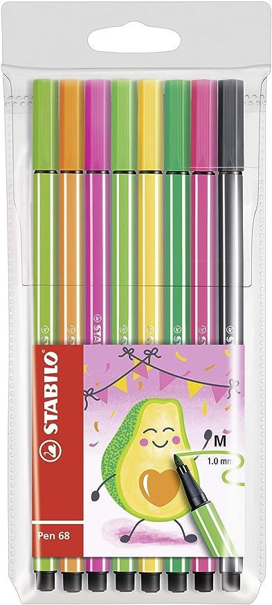 Stabilo 68/03-8-14 68 Living Colours Drawing Pens Medium Tip Pack of 8 Avocado Design