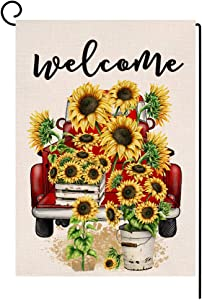 BLKWHT Spring Summer Sunflower Garden Flag Vertical Double Sided Welcome Floral Truck Farmhouse Burlap Yard Outdoor Decor 12.5 x 18 Inches A214