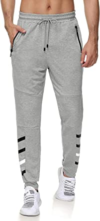 iWoo Men's Jogger Sweatpants Slim Fit Stretch Gym Workout Pants with Zipper Pockets