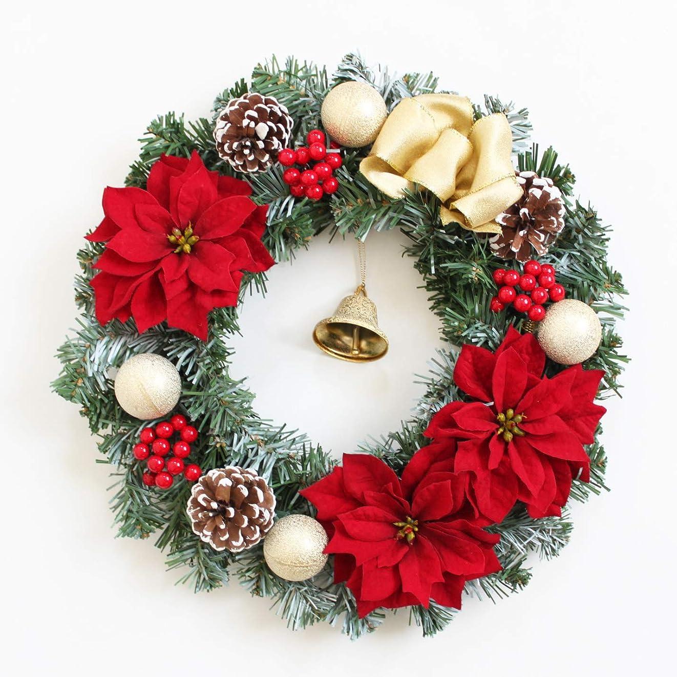 ヘッドレス予感精査するグランドグルー クリスマスリース クリスマス 飾り 造花 アーティフィシャルフラワー ハンドメイド クリスマス用玄関飾り 壁掛け