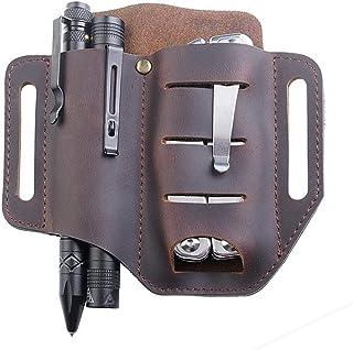 EDC Leather Sheath, BOIROS EDC Organizer Leather Multitool Pouch Belt Sheath Folding for Pocket Knife Flashlight Tactical ...