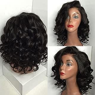 Hair Brazilian Human Hair Front Wigs Glueless Short Bob Wavy Baby Hair Black Women 21inch-24inch Lace (a)