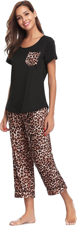 Aibrou Women's Capri Pajama Set Printed Short Sleeve Pajamas with Pocket
