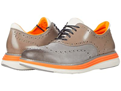 Cole Haan Original Grand Ultra Wingtip Oxford (Ironstone Nubuck/Shocking Orange/Morning Fog) Men