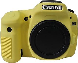 Gel de silicona de protección de caucho suave cámara de la cubierta de la caja de bolsa para Canon EOS 80D cámara amarilla