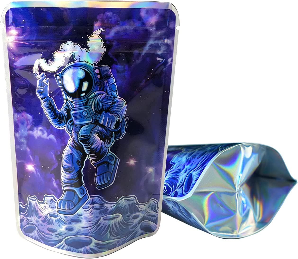 SpacyGas 100 Pieces Resealable Mylar Bags with Design,3.5 Packaging Baggies,Zip Lock Printed Mylar Foil Bags,Food Stand-up Storage Pouch,3.6x5 Inches,Holographic Blue