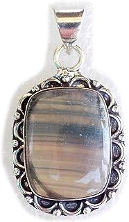 Fluorite Pendant, Silver Plated Brass Pendant, Handmade Pendant, Gift Jewelry, Women Jewellry, Fashion Jewellry, BRS-12515
