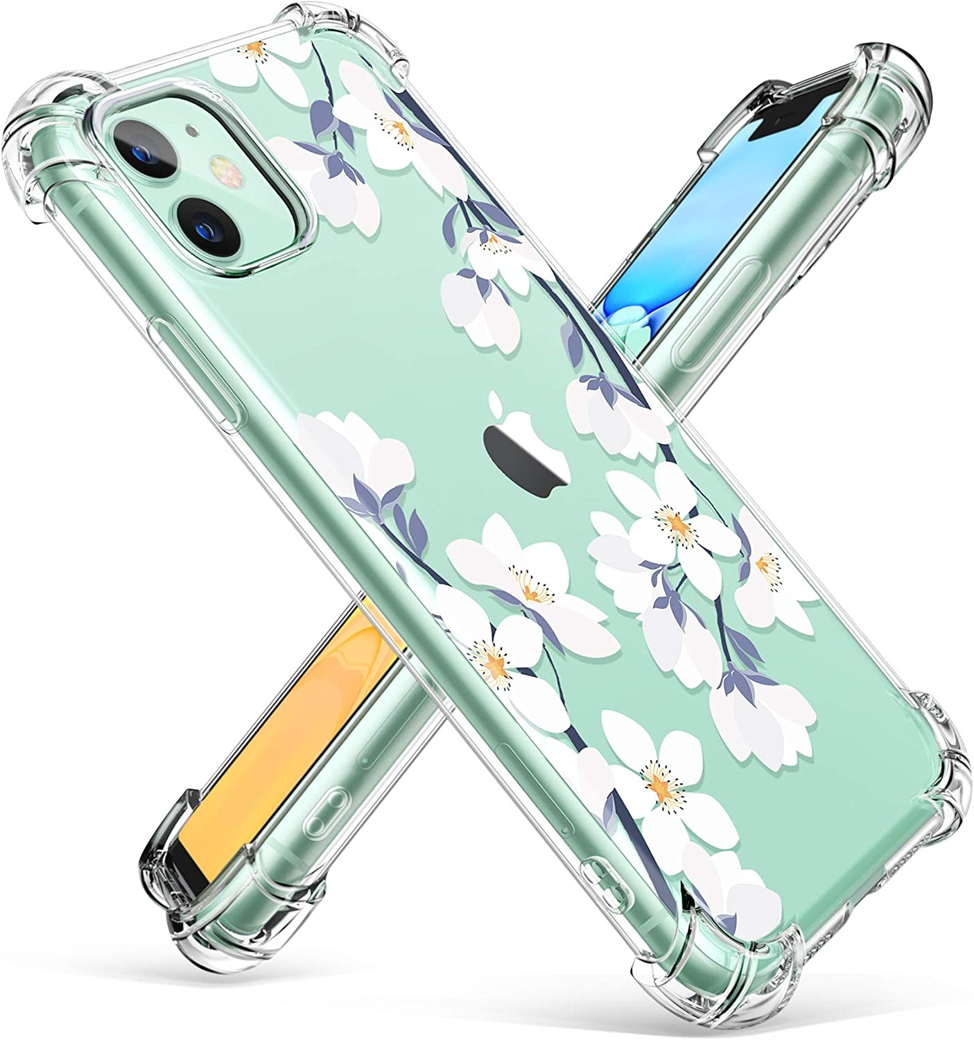GVIEWIN iPhone 11 Case,Clear Flower Design Soft&Flexible TPU Thin Shockproof Transparent Bumper Protective Floral Cover Case for iPhone 11 6.1 inch 2019 (Windflower/White)