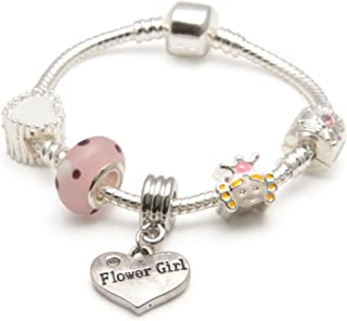 Girls 'Little Princess' Flower Girl Silver Plated Charm Bracelet. Wedding Thank You Present with Gift Box & Velvet Pouch (...