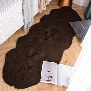 Carvapet Luxury Soft Faux Sheepskin Couch Seat Cushion Fake Fur Area Rugs for Bedroom and Living Room Runner, 2ft x 6ft, Brown