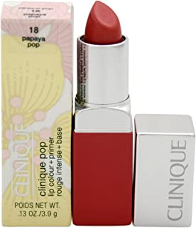 Clinique Pop Lip Colour + Primer - # 18 Papaya Pop for Women - 0.1 oz Lipstick, 3 milliliters