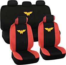 Wonder Woman Car Seat Covers - Full 9 Piece Set - Warner Brothers Polyester Seat Protectors Black & Red