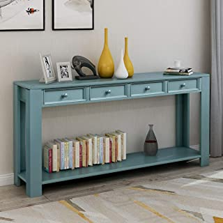 GLCHQ Multifunctional Retro Console Table Four Drawers and Bottom Shelf Sofa Table for Entryway hallways, Living Room (Dark Blue)