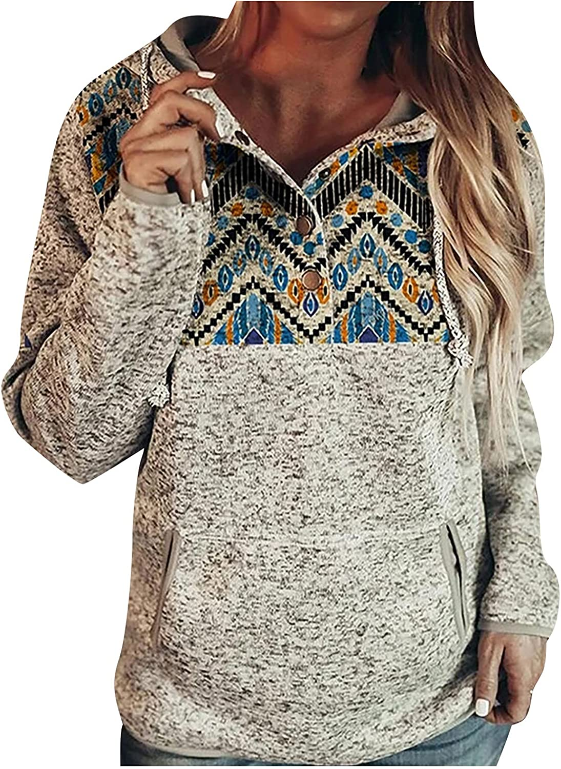 Button Down Sweatshirts for Women Vintage Pa Comfy Trendy Award-winning store Hoodie Year-end annual account